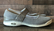 """Chaco Womens SZ 8 """"Gala"""" Mary Jane Bungee Gray Canvas Strap Sandal Shoes"""