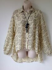 TOPSHOP SIZE 8 BLACK CREAM FLORAL CHIFFON BACK DETAIL SHIRT BLOUSE TOP BOHO LOOK