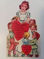 1950s Vtg SNOW WHITE & 7 DWARFS Happy as can be Because VALENTINE Greeting CARD