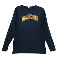 C2 Sport HOOLIGANS Long Sleeve Dry Fit Shirt Mens XL Navy Blue Athletic Spellout