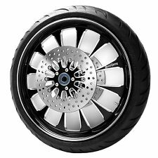 """Black 23"""" Front Harley Wheel Package w/ Rotors & Tire for 14-17 Touring w/ABS"""