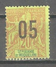 St Pierre & Miquelon 1912,Surcharged,Sc 113,VF Mint Hinged*OG (P-5)