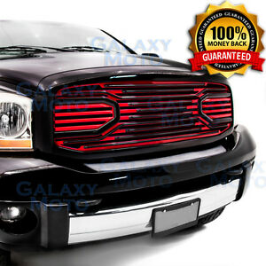 Big Horn Black+Red Packaged Grille+Shell for 06-08 Dodge Ram 1500+2500+3500