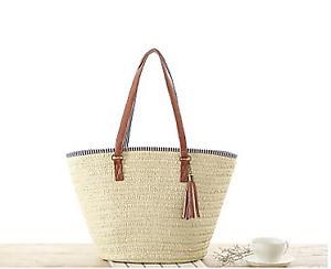 Women Straw Bag Shoulder Bag Purse Large Woven Handbag Handmade