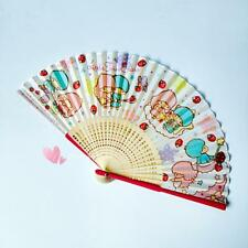 Cute Little Twin Stars Women Girls Summer Bamboo Folding Cooling Fan Red