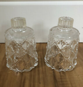 Peg Votive Candle Holder Cups Vintage Quilted Diamond Partylite Clear Embossed