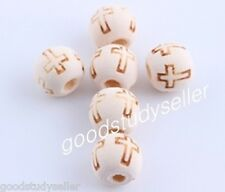 100 pcs cross craved wood spacer beads Jewelry making findings charms 10mm