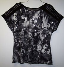 BRITTANY BLACK BLACK & WHITE ABSTRACT CAP SLEEVE SEQUIN TOP SHIRT S M SM MEDIUM