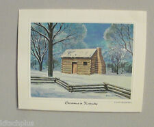 Vtg Bright of America Kentucky Christmas Card Brian Harper Artist Lincoln Cabin