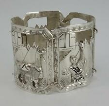 Mayan panel link bracelet 56g Sterling Silver Peruvian Llama storyteller Aztec