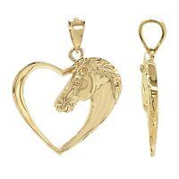14k Yellow Gold Open Heart Horse Face Horse Head Charm Pendant 2.7grams