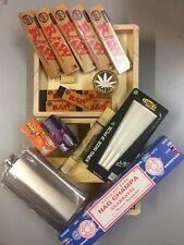 GRANDE scatola in legno KIT rotante/smerigliatrice in metallo/Raw Cartine/Fiaschetta Roach