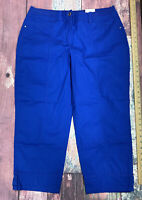 "NWT Chicos Benoa Blue Crop Pants Cool Cotton Ultimate Fit Utility 24"" ZIP Size 2"