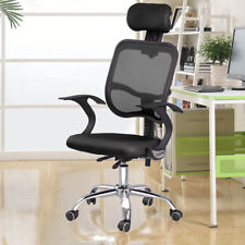Adjustable Chrome Executive Office Desk Computer Chair Mesh Seat Fabric Black UK