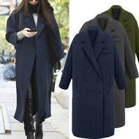 Fashion Women Winter Lapel Long Coat Jacket Parka Outwear Wool Cashmere Overcoat