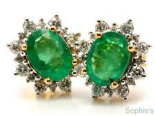 Natural Diamond Yellow Gold Emerald Fine Earrings