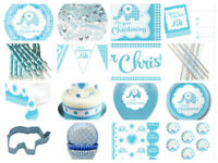 Boys Christening Blue Baby Elephant Party Cups Plates Napkins Invites Balloons