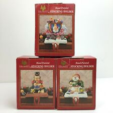 Vintage 1996 Hand painted Christmas Stocking Holder Decorations Lot of 3