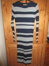 NEW QED LONDON NAVY & GREY STRIPED KNITTED 70% VISCOSE LONG DRESS SIZE 14 / 16