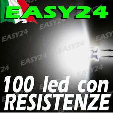 100 DIODI LED BIANCO BIANCHI ALTA LUMINOSITA' 180 gradi 5 mm con resistenze