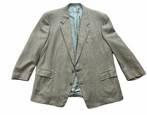 Hickey Freeman Blazer 52 LNG Wool Cashmere Green Brown Houndstooth 2 Button
