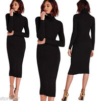 Womens Sweater Dress Elastic Turtleneck Slim Long Sleeve Bodycon Knitted Dress
