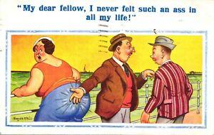 Donald McGill Postcard 1939 Fat Lady Smacked Bottom Seaside Comic Hats Ass