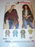 WOMENS UNCUT SIMPLICITY 8419 Sewing Pattern KIMONO WRAP JACKET SHAWL SIZE XS-XL