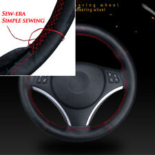 Genuine Leather DIY Steering Wheel Covers With Needle and Thread Car interior
