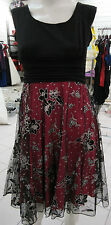 Dress M Pink Black Floral Silver Glitter Layered Netting Empire Waist NWT BR 111