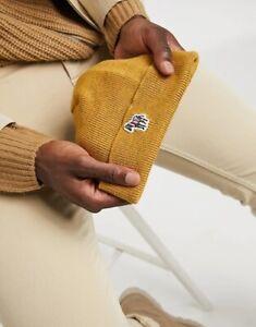 NEW Paul Smith 100% Lambswool Mustard Yellow Beanie Hat Zebra Logo