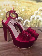 Ladies Berry Red Velvet Block Heels Platform Shoes Size 39 New