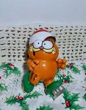 "1981 Enesco Garfield Ice Skating  Christmas Ornament Cat Santa Hat 2.75""  H25"