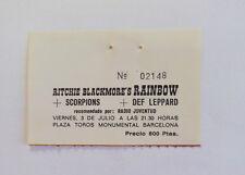 RAINBOW   Ticket Stub  Barcelona 1981  SCORPIONS  DEF LEPPARD