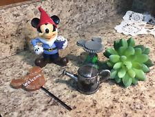 New Disney Mickey Mouse 4 Piece Miniature Statuaries Garden Fairy Kit