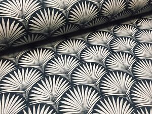 Art Deco FOUNTAIN Fan Geometric Floral Damask Fabric Curtain -140cm wide - Black