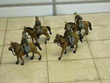 Preiser military - EDW - 4 deutsche Soldaten - Reiter auf Pferd - handbemalt