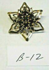 Vintage Costume Jewelry Rhinestone Flower Brooch Ruby Stones Gold Tone 1 1/ B-12