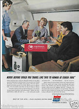 UNITED AIR LINES DC-8 JETS TO HAWAII FROM NEW YORK NAVIGATOR GAME LOUNGE AD