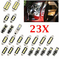 23x LED White Car Inside Light Kit Trunk Mirror License Plate Dome Lamp Bulbs