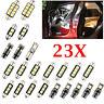 23x LED White Car Inside Light Kit Trunk Mirror License Plate Dome Lamp Bulbs