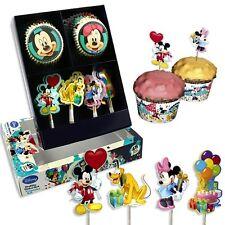 Mickymaus Muffinsdeko Set: Muffinsförmchen +Muffinstecker f.Mickey Mouse Muffins