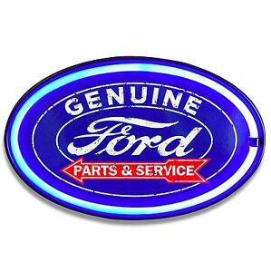 "Ford LED Neon Lighted Sign, 16"" Oval W/ Lights, Decor For Bar, Garage, Man Cave"
