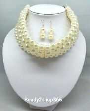 Faux Pearl Multi 5 Row Layer Wide Necklace Stacked Choker Collar Beaded Strand