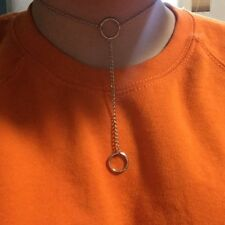 Handmade Elegant O-ring choker with dangling silver chain .