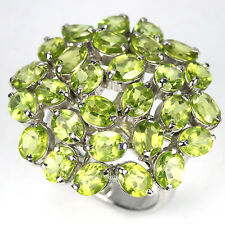 NATURAL AAA APPLE GREEN PERIDOT OVAL FACET STERLING 925 SILVER RING. 7-3/4