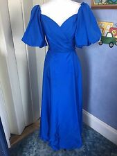 Vtg 80s Blue Puff Sleeve Prom Party Wedding Bridesmaid Dress Sz S XS Tie Waist