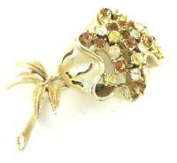 Vintage Jewelry Brooch Pin CORO Rhinestone Flower Signed 1 Stone Missing