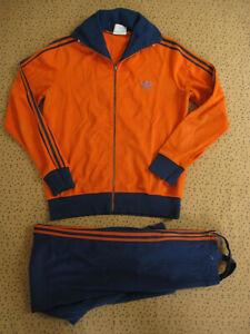 Survetement ADIDAS Ventex 80'S Orange et bleu veste Pantalon Vintage - M