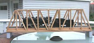 """S Gauge handmade oak thru truss bridge 24"""" long for American Flyer etc. USA"""